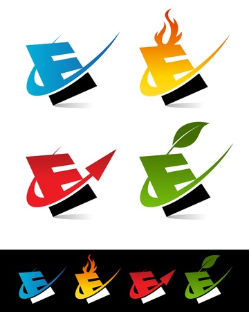 Vector set of colorful swoosh E icons