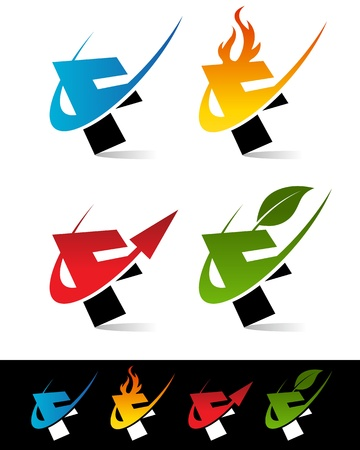Vector set of colorful swoosh F icons  Çizim