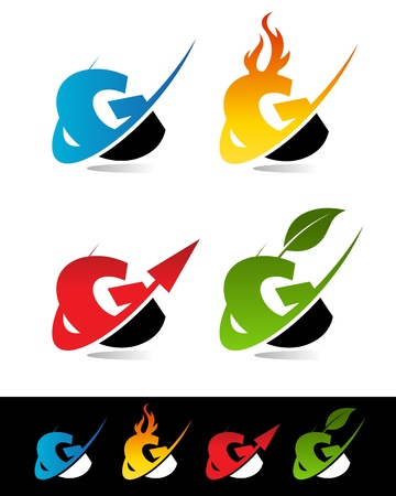 g alphabet: Vector set of colorful swoosh G icons