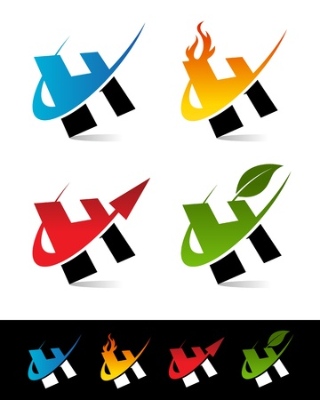 h: Vector set of colorful swoosh H icons