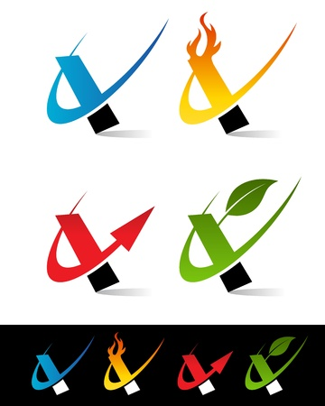 Vector set of colorful swoosh I icons  Vector