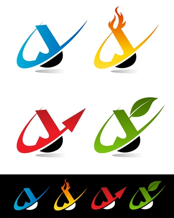 Vector set of colorful swoosh J icons  Vector