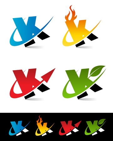 blue flame: Vector set of colorful swoosh K icons  Illustration