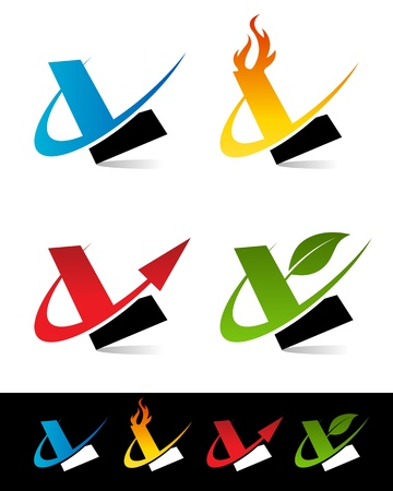 l: Vector set of colorful swoosh L icons