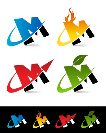 letter m: Vector set of colorful swoosh M icons