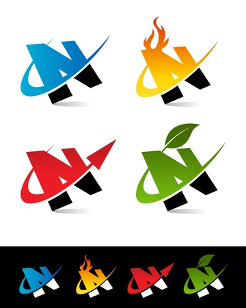 letter n: Vector set of colorful swoosh N icons