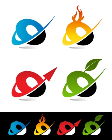 Vector set of colorful swoosh O icons