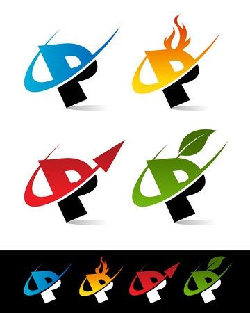 Vector set of colorful swoosh P icons