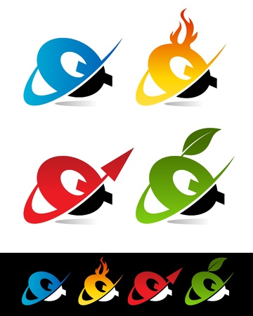 blue flame: Vector set of colorful swoosh Q icons