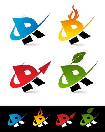 letter r: Vector set of colorful swoosh R icons
