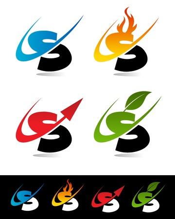 lettre s: Vector set d'icônes swoosh coloré S