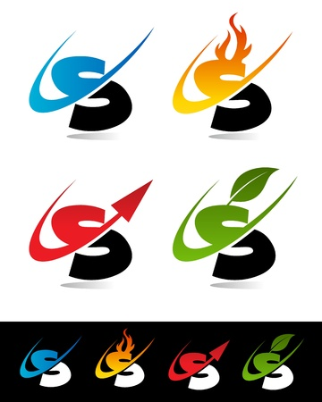 letter s: Vector set of colorful swoosh S icons