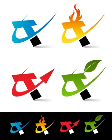 Vector set of colorful swoosh T icons