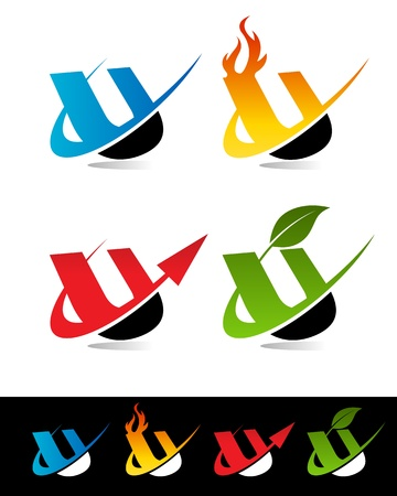 Vector set of colorful swoosh U icons  Stock Vector - 17109658