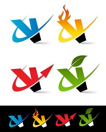 v alphabet: Vector set of colorful swoosh V icons
