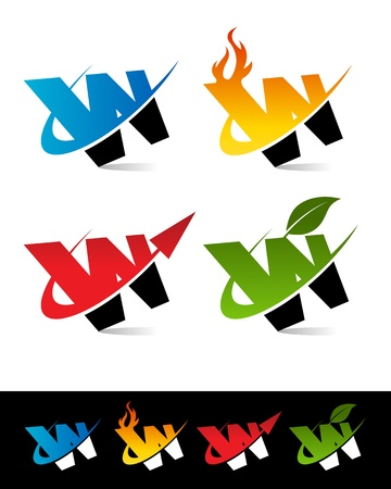 Vector set of colorful swoosh W icons  Çizim