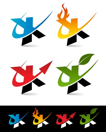 Vector set of colorful swoosh X icons  Vector