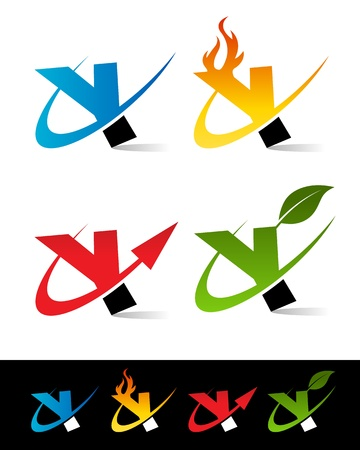flame alphabet: Vector set of colorful swoosh Y icons