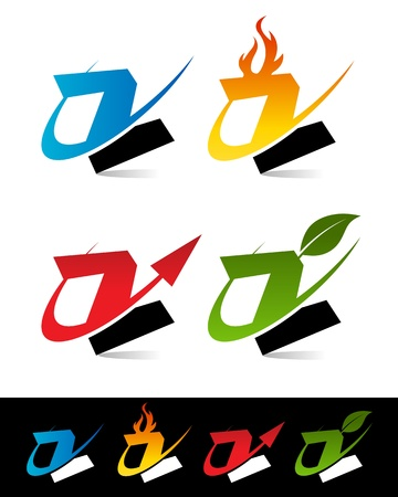 Vector set of colorful swoosh Z icons