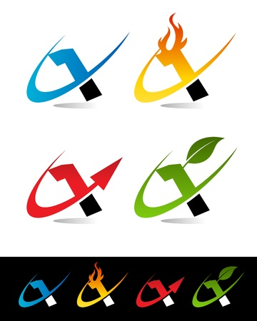 Vector set of colorful swoosh 1 icons