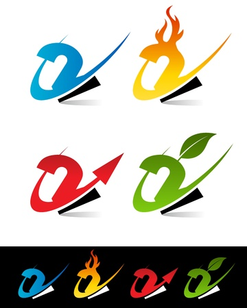 number two: Vector set of colorful swoosh 2 icons  Illustration