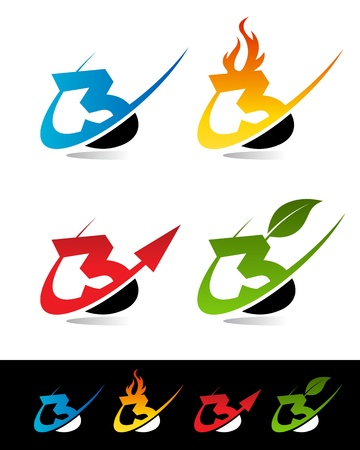 Vector set of colorful swoosh 3 icons  Vector