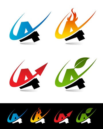set of colorful swoosh 4 icons  Stock Vector - 17109640