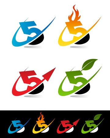 Vector set of colorful swoosh 5 icons