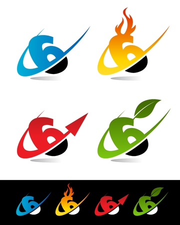 Vector set of colorful swoosh 6 icons