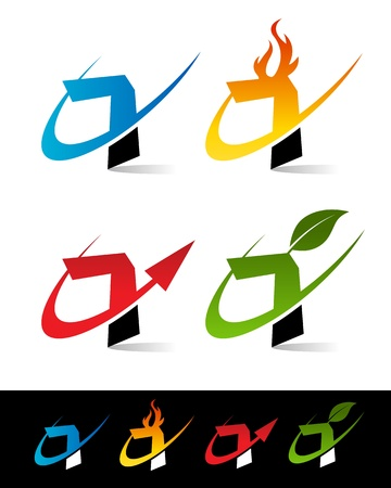Vector set of colorful swoosh 7 icons  Stock Vector - 17109650