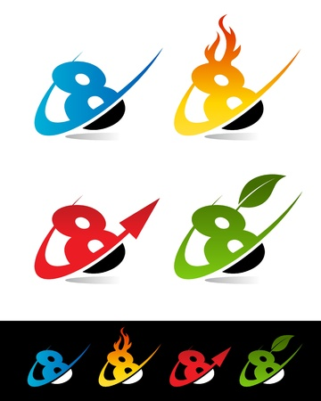 Vector set of colorful swoosh 8 icons  Stock Vector - 17109670