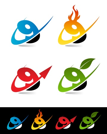 Vector set of various swoosh 9 icons  Stock Vector - 17109664