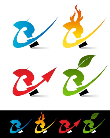 Vector set of colorful swoosh question icons