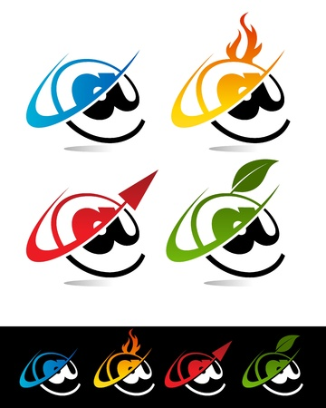 Vector set of colorful swoosh aroba icons Stock Vector - 17109678