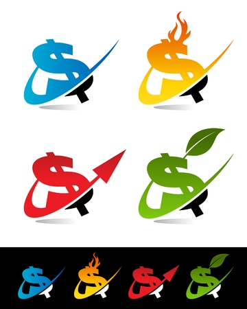 Vector set of various swoosh dollar icons