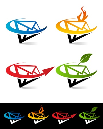 Vector set of colorful swoosh envelope icons Stock Vector - 17109647