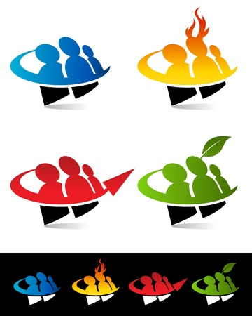 Vector set of colorful swoosh people icons