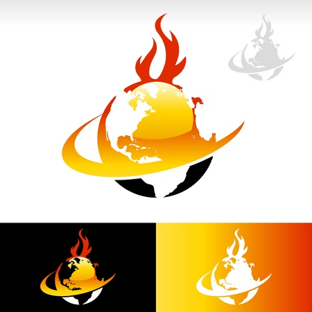 Vector design of planet earth icon on fire  Stock Vector - 17109679