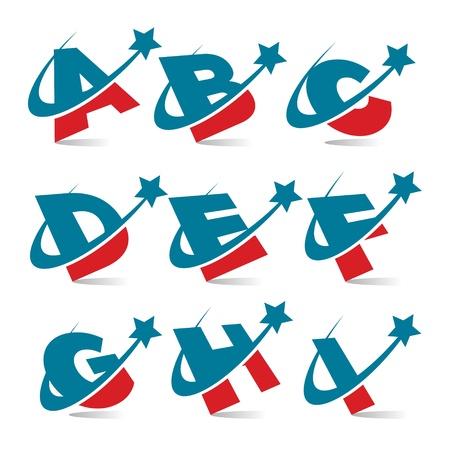 Swoosh Patriotic Alphabet Set 1