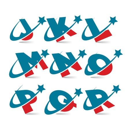 Swoosh Patriotic Alphabet Set 2 Vector