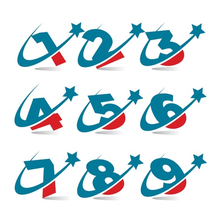 Swoosh Patriotic Numbers Stock Vector - 18392873