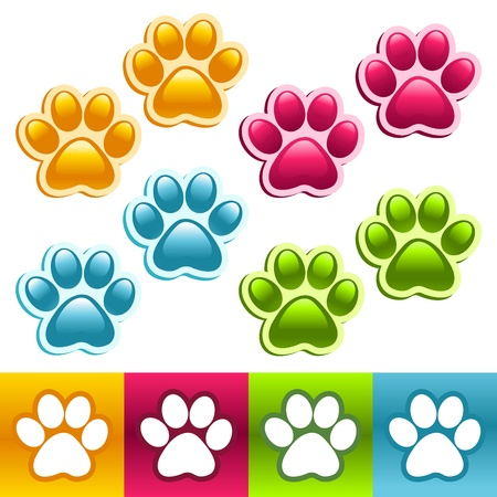 Colorful Animal Paws Vectores