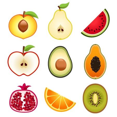 과일에게 아이콘을 절반 일러스트