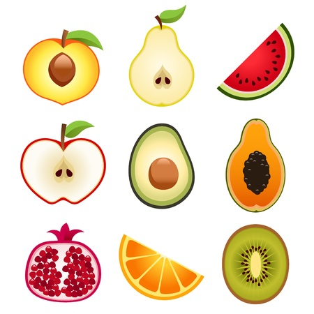 to cut: Halve Fruits Icons