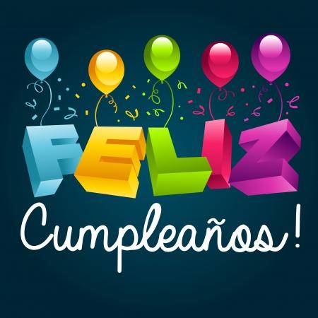 happy: Happy Birthday in Spanish Illustration