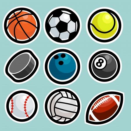pool ball: Juego de bolas de deporte iconos. Vectores