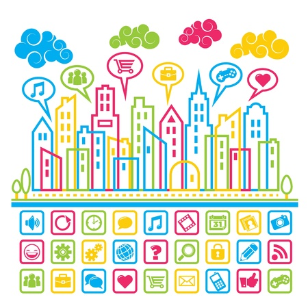 Colorful city illustration with social media icons. Stock Vector - 18648170