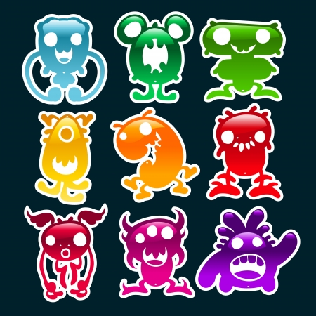 Set of colorful glossy monsters. Stock Vector - 18648167