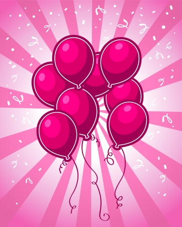 Pink Party Balloons Illustration