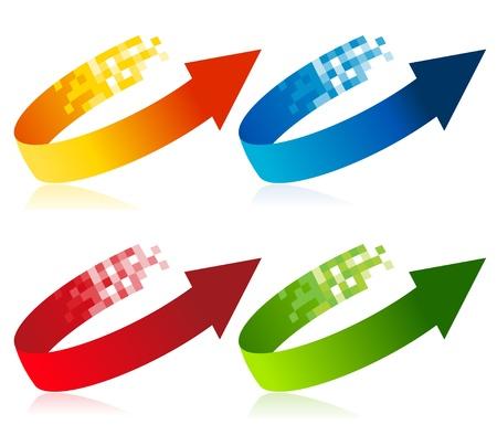 arrow icon: Set of colorful pixel arrow symbols